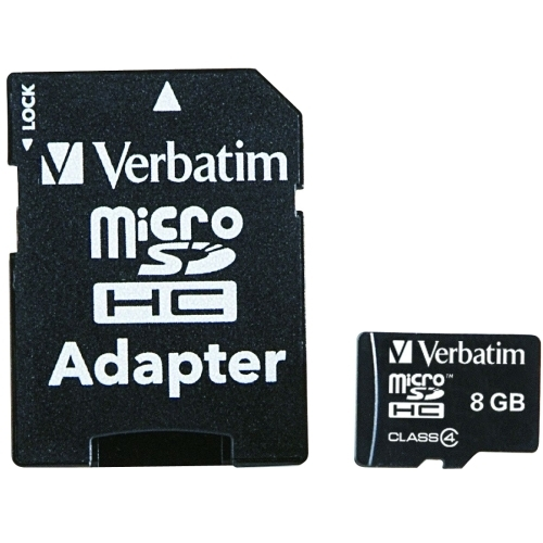 Verbatim Corporation Micro SDHC, W/Adapter, 8GB, Black
