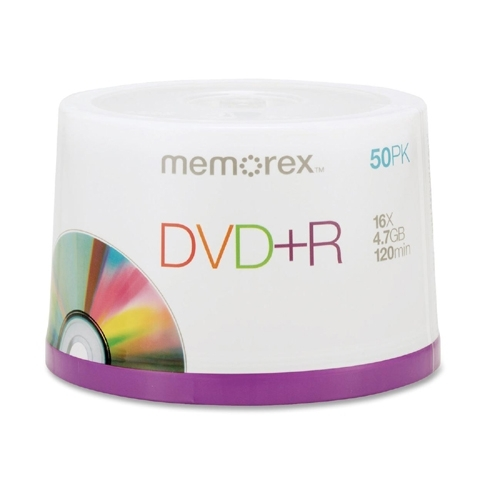 Memorex DVD+R, 16X, 4.7GB, Branded, 50/PK