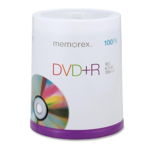 Memorex DVD+R, 16X, 4.7GB, Branded, 100/PK