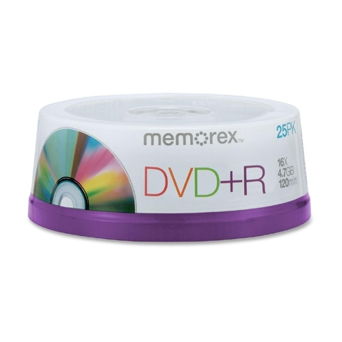 Memorex DVD+R, 4.7GB, 16X, 2 Hours of Video, 25/PK