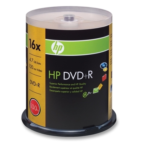 Hewlett-Packard DVD+R, Branded, 16x, 4.7GB, 100/PK, Silver