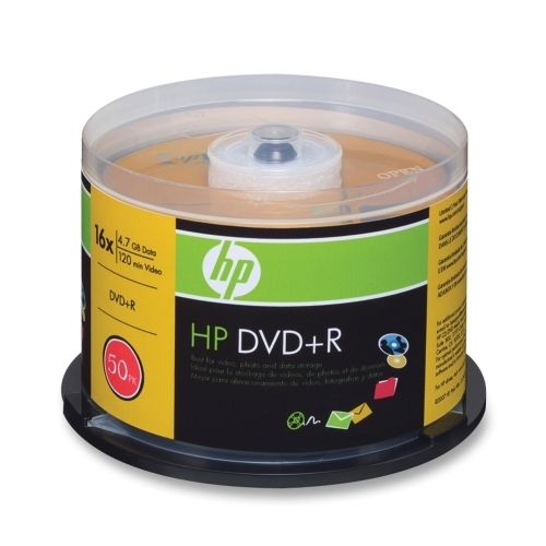 Hewlett-Packard DVD+R, Branded, 16x, 4.7GB, 50/PK, Silver