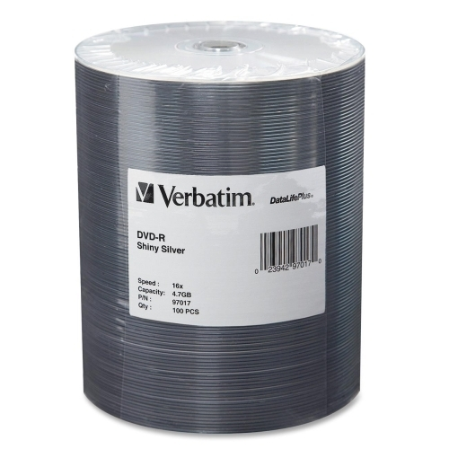 Verbatim Corporation DVD-R, 4.7GB, 16x, 100/PK, Shiny Silver