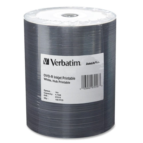 Verbatim Corporation DVD-R, Inkjet Printable, 4.7GB, 16x,100/PK, White
