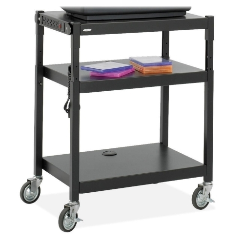 "Safco Products Company Adjustable-Height Cart, 27-1/4""x18-1/4""x36-1/2"", Black"