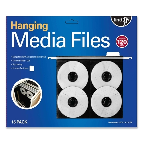 Ideastream Products Hanging CD/DVD Pages ,w/ Insert Tabs, Top Load, 15/PK, Black