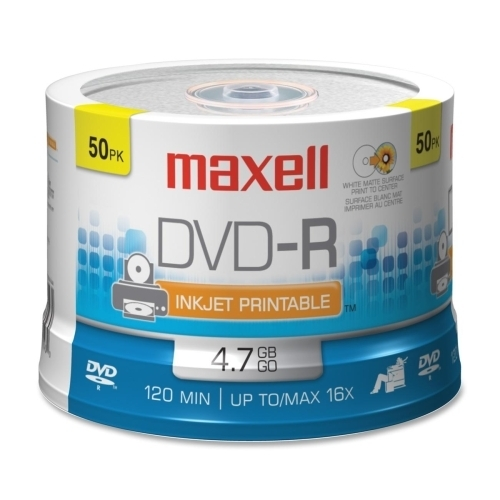 Maxell Corp. Of America DVD-R, 4.7GB, 120/360 Minutes, 16X, 50/PK, White Matte