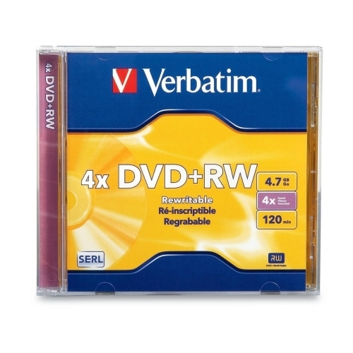 Verbatim Corporation DVD+RW, w/ Jewel Case, 1x-4x Recording Speed, 4.7GB