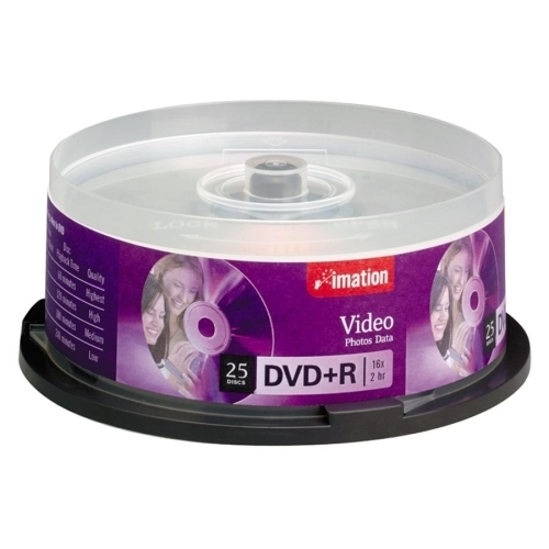 Imation DVD+R,16X,4.7GB,Branded,Single-Sided,Write Once,25/PK,SR