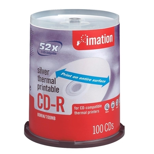 Imation CD-R,52X,700MB/80Min,Thermal Printable,100/PK,Silver
