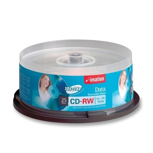 Imation CD-RW,10-24X,700MB/80Min,Ultra Speed,Branded,25/PK,Silver
