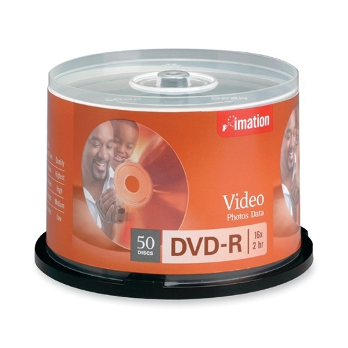 Imation DVD-R, 16x, 4.7GB, Branded, 50/PK,Silver