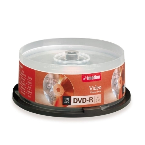 Imation DVD-R,4.7GB,Branded,Single-Sided,Write Once,25/PK,Silver