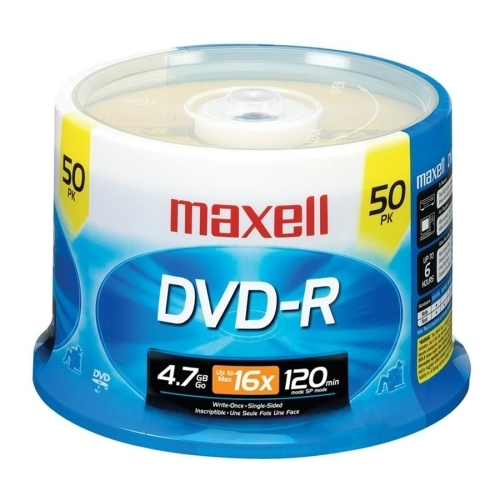 Maxell Corp. Of America DVD-R, 16X Speed, 4.7GB, Branded, F/Recorders/Drives, 50/PK