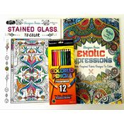 Adult Coloring Book Set - Exotic Impressions and Stained Glass