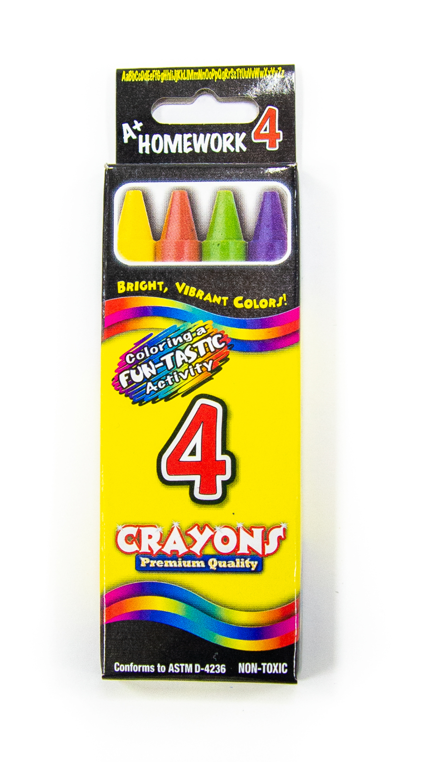 Wholesale Bulk Crayons 4 Pack Assorted Colors Sku
