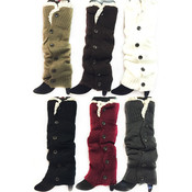 Long Knit Boot Topper Leg Warmers with Lace Trim