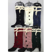 Double Lace Knit Boot Topper Leg Warmer with Buttons