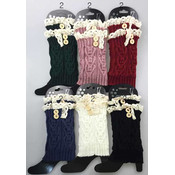 Short Boot Topper Leg Warmer with Lace & Buttons
