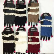 Knitted Fingerless Gloves with Lace and Big Button