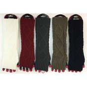 Long Cable Knit Fingerless Gloves