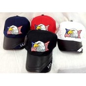 American Flag Eagle Head Hat with Leather Bill