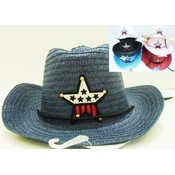 Kids Cowboy Straw Hats Assorted Star Design