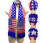 Knitted Beanie Hat/Scarve Set Assorted USA Design