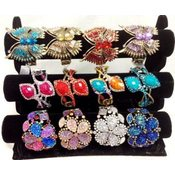 Ladies'  Fancy Bangle With Crystals Assorted