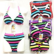 Women's Bright Color Stripes Bikini Sets with Rhinestones