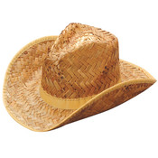 Tan Woven Straw Rolled Cowboy Hat