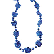 Metallic Paw Print Beads - Blue
