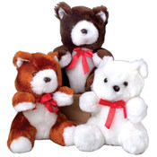 Stuffed Teddy Bears with Red Ribbons